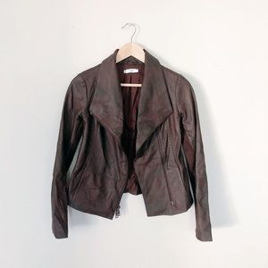 Vince Brown Leather Ribbed Moto Jacket